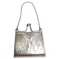Miniature sterling silver purse  pendant embossed