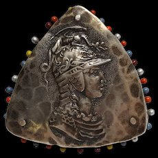Rare Shiebler sterling silver pin cushion classic Homeric busts