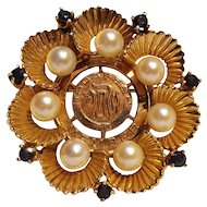 14K Gold sapphire pearl pin pendant with Hadassah life member medal custom made