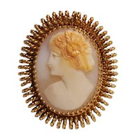 Walter Lampl cameo pin pendant 12K gold filled