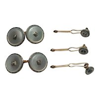 Krementz tuxedo set cufflinks  buttons mother of pearl seed pearl gold filled
