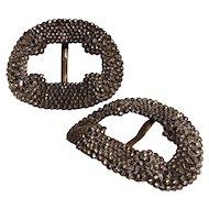 Antique cut steel shoe buckles