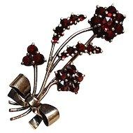 Coin Silver Bohemian garnet pin floral bouquet