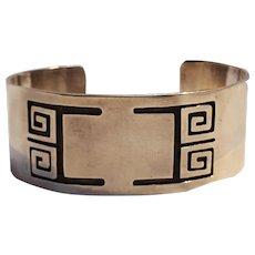 Sterling silver cuff bracelet geometric design