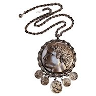Goldette over sized Roman coin motif pendant necklace