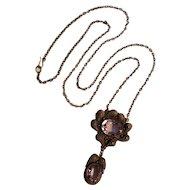 Antique silver filigree amethyst drop pendant necklace