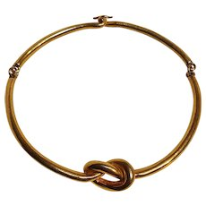 Kenneth Lane metal knot torque choker necklace