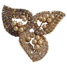 Aurora borealis rhinestone simulated pearl pin three petal design