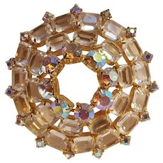 Aurora borealis colorless crystal circle wreath pin