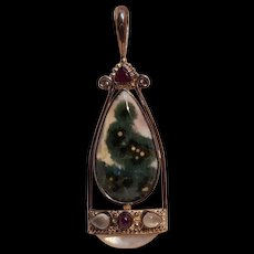 Sajen sterling silver moss agate gemstone pendant mother of pearl