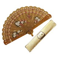 Painted celluloid fan Christofle box company premium