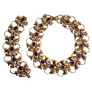 1940's Statement set blue stone necklace bracelet  hammered finish