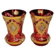 Pair Bohemian glass vases cranberry enamel flowers gilt