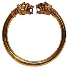 Sterling vermeil MMA Tiger finial cuff bracelet Ancient Roman style