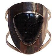 OLA Sterling silver onyx mask cuff bracelet