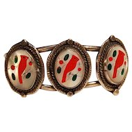 Zuni silver inlay cuff bracelet three red cardinal birds