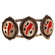 Zuni silver inlay cuff bracelet three red cardinal birds