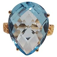 10K Gold blue topaz ring pear cut MEI