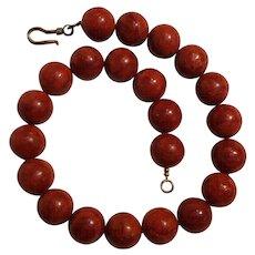 Apple sponge coral bead necklace