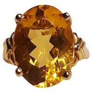 14K Gold oval cut citrine ring circa 1980's