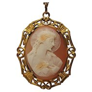 Cameo Jesus sacred heart pendant necklace