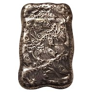 Sterling silver fish match safe vesta