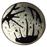 Balle sterling silver enamel pin Norway Modernist design