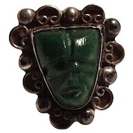 Sterling Mexico carved stone mask ring B