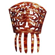Mantilla style hair comb celluloid tortoise shell