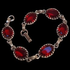 Sterling silver red glass stone bracelet