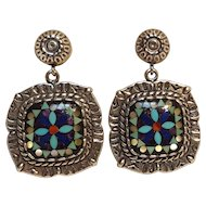 Relios sterling silver mosaic inlay earrings