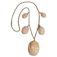14K gold pink shell  cameo necklace five cameo drop pendants - Red Tag Sale Item