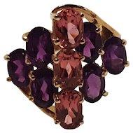 10K 10 Karat Gold genuine purple stone simulated pink stone ring