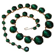 Vintage Riviere style necklace graduated green glass stones
