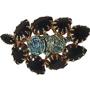 Brooch pin ice blue carnival glass roses and green glass cabochon