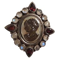 Sterling silver abalone cameo pin pendant garnet moonstone
