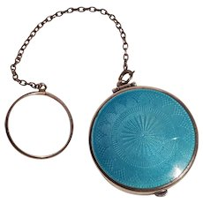 Webster sterling silver blue guilloche enamel compact chatelaine ring