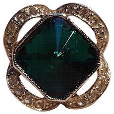 Sarah Coventry ring square rivoli rhinestone green