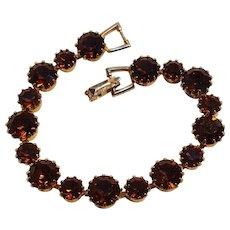 Weiss rhinestone line tennis bracelet topaz brown