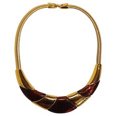 Napier gas pipe chain lucite tortoise shell choker necklace