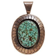 Tommy Jackson Navajo sterling silver turquoise pendant