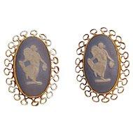 Van Dell blue Wedgwood jasperware cameo earrings dancing hours 12K gf
