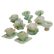 Miniature dollhouse marbled green glass dishes Japan tea cups, bowls