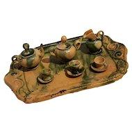 Miniature dollhouse pottery tea set Mexico mottled green glaze