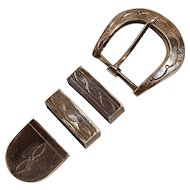 Native American sterling silver rangers belt set M