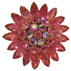 Rhinestone pin brooch pink and aurora borealis stones