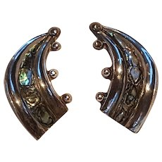 Taxco sterling silver abalone inlay earrings Mexico screw back