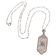 10K White gold diamond Edwardian filigree pendant necklace fetter chain