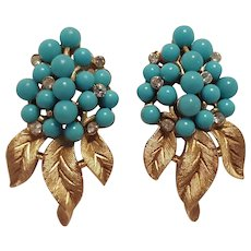 Trifari turquoise blue berry clip earrings rhinestone accents