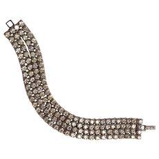 La Rel four row rhinestone bracelet colorless chatons silver tone